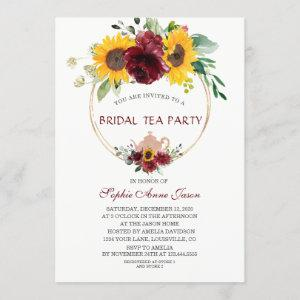 Watercolor Burgundy Sunflower Bridal Tea Party starting at 2.55
