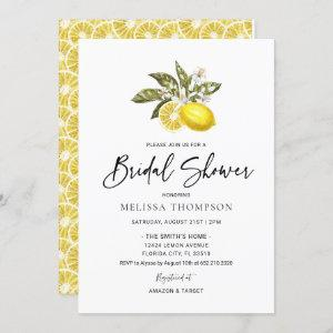 Watercolor Citrus Lemon Bridal Shower Invitation starting at 2.50