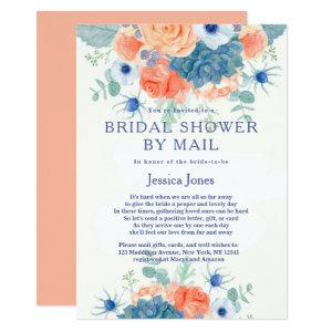 Watercolor coral blue floral Bridal Shower by Mail Invitation starting at 2.51