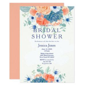 Watercolor coral blue rustic floral Bridal Shower Invitation starting at 2.51