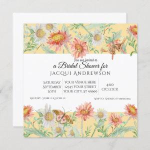 Watercolor Coral Mint Yellow Floral Bridal Shower Invitation starting at 2.40