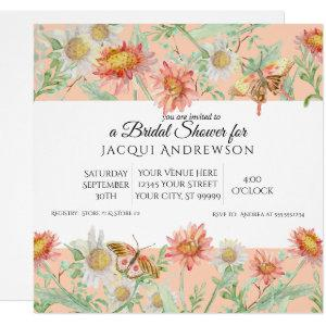Watercolor Coral Peach Ivory Floral Bridal Shower Invitation starting at 2.40
