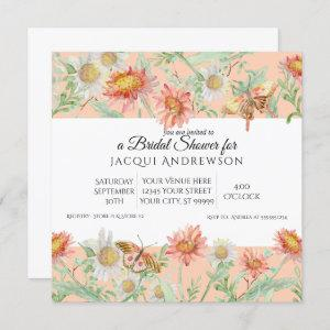 Watercolor Coral Peach Ivory Floral Bridal Shower starting at 2.40