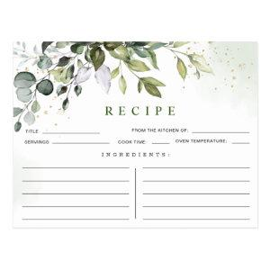 Watercolor Eucalyptus Bridal Shower Recipe Card starting at 1.20