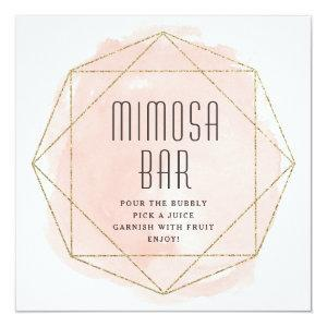 Watercolor faux glitter Mimosa bar sign Invitation starting at 2.51
