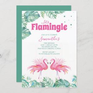 Watercolor Flamingo Birthday Party Invitation starting at 2.35