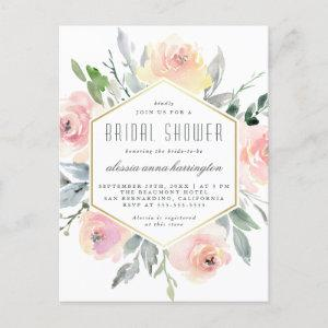 Watercolor Floral Blush Pink & Gold Bridal Shower Invitation Postcard starting at 1.70