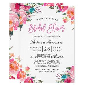 Watercolor Floral Botanical Wreath Bridal Shower Invitation starting at 2.10