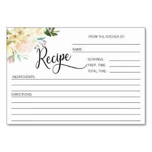 Watercolor Floral Bridal Shower Recipe Cards starting at 1.05