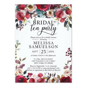Watercolor Floral Burgundy Tea Party Bridal Shower Invitation starting at 2.05