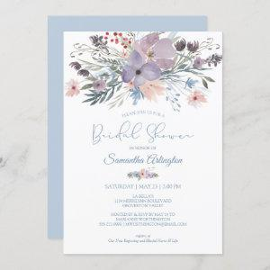 Watercolor Floral Dusty Blue Violet Bridal Shower Invitation starting at 2.40