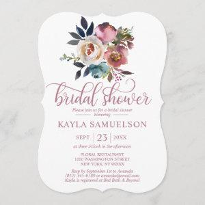 Watercolor Floral Dusty Mauve Rose Bridal Shower Invitation starting at 2.60