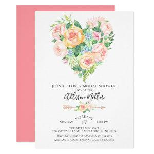 Watercolor Floral Heart Bridal Shower Invitation starting at 2.10