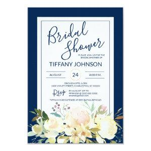Watercolor Floral Navy Blue Bridal Shower Invitation starting at 1.95