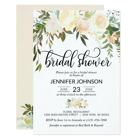 Watercolor Floral Pink Cream Ivory Bridal Shower Invitation