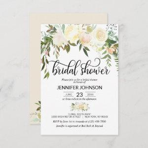 Watercolor Floral Pink Cream Ivory Bridal Shower Invitation starting at 2.05