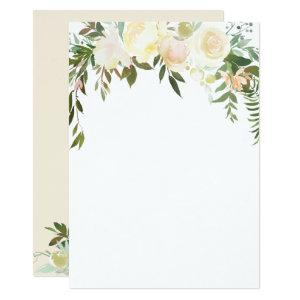 Watercolor Floral Pink Cream Ivory Shower BLANK Invitation starting at 2.66