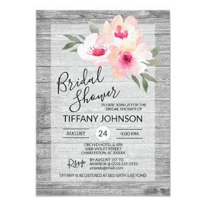 Watercolor Floral Pink Grey Rustic Bridal Shower Invitation starting at 2.05