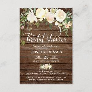 Watercolor Floral Rustic Pink Ivory Bridal Shower Invitation starting at 2.05