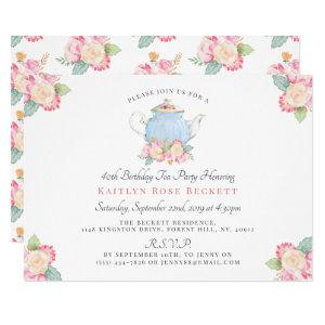 Watercolor Floral Tea Party | Birthday Invitation starting at 2.40
