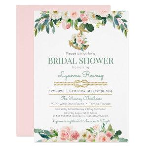 Watercolor Flowers Blush Nautical Bridal Shower Invitation starting at 2.55