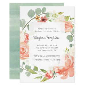 Watercolor Flowers & Eucalyptus Wreath Bridal Show Invitation starting at 2.25