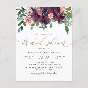 Watercolor Flowers & Gold Glitter Bridal Shower Invitation Postcard starting at 1.70