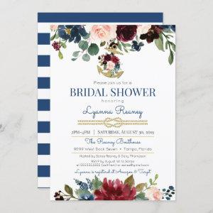Watercolor Flowers Navy Nautical Bridal Shower Invitation starting at 2.55