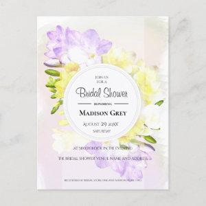 Watercolor Freesia Flowers Bridal Shower Invitation Postcard starting at 1.70