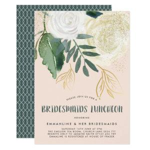 Watercolor & Glitter Roses Bridesmaids Luncheon Invitation starting at 2.26