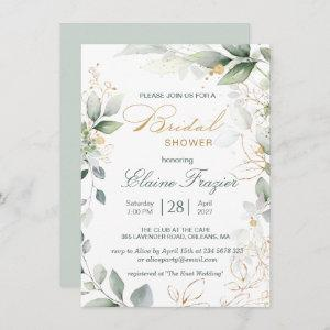 Watercolor green & gold leaves Bridal Shower Invitation starting at 2.26
