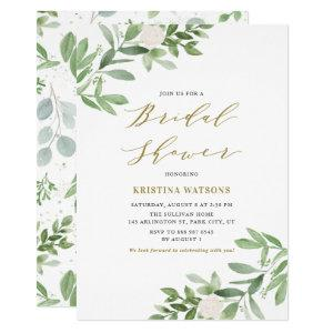 Watercolor Greenery and Flowers Bridal Shower Invitation starting at 2.15