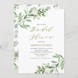 Watercolor Greenery and Flowers Bridal Shower Invitation starting at 2.40