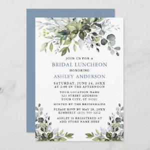 Watercolor Greenery Bridal Luncheon Dusty Blue Invitation starting at 2.51