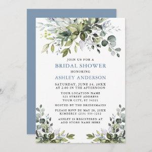 Watercolor Greenery Dusty Blue Bridal Shower Invitation starting at 2.51