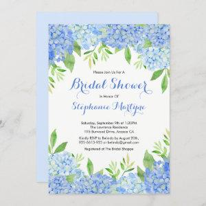 Watercolor Hydrangea Blue Floral Bridal Shower Invitation starting at 2.40