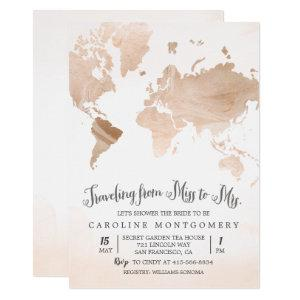 Watercolor Map Travel Bridal Shower Invitation starting at 2.50