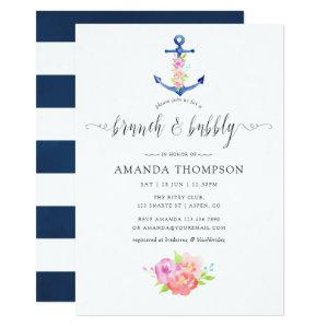 Watercolor Nautical Theme Floral Brunch and Bubbly Invitation starting at 2.66