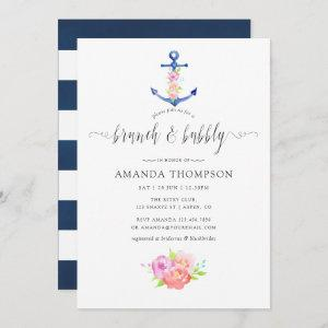 Watercolor Nautical Theme Floral Brunch and Bubbly Invitation starting at 2.51
