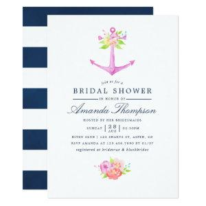 Watercolor Nautical Themed Floral Bridal Shower Invitation starting at 2.66