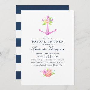 Watercolor Nautical Themed Floral Bridal Shower Invitation starting at 2.51