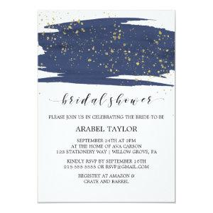 Watercolor Navy and Gold Sparkle Bridal Shower Invitation starting at 2.51