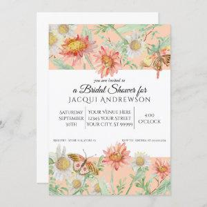 Watercolor Peach Coral White Floral Bridal Shower Invitation starting at 2.55