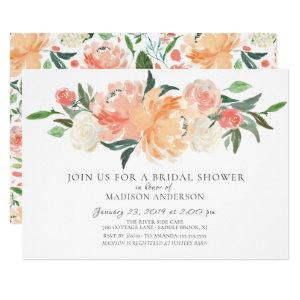 Watercolor Peach & Cream Floral Bridal Shower Invitation starting at 2.15
