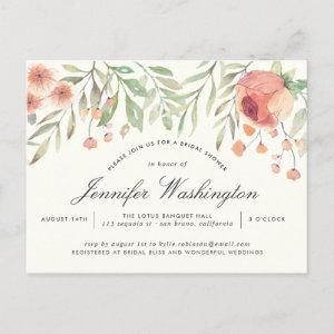 Watercolor Peach Rose & Hippie Pink Bridal Shower Invitation Postcard starting at 1.70