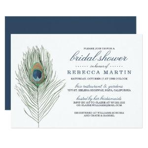 Watercolor Peacock Feather Bridal Shower Invitation starting at 2.51