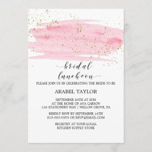 Watercolor Pink Blush and Gold Bridal Luncheon Invitation starting at 2.51