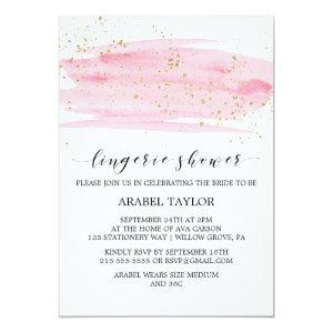 Watercolor Pink Blush and Gold Lingerie Shower Invitation starting at 2.51