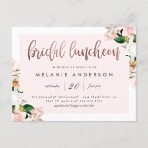 Watercolor Pink Floral Rose Gold Bridal Luncheon Invitation Postcard starting at 1.70