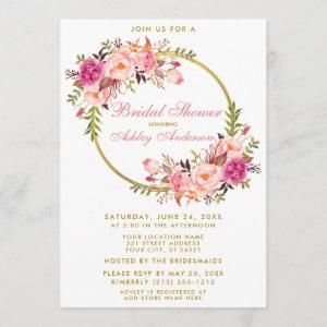 Watercolor Pink Floral Wreath Gold Bridal Shower P Invitation starting at 2.51